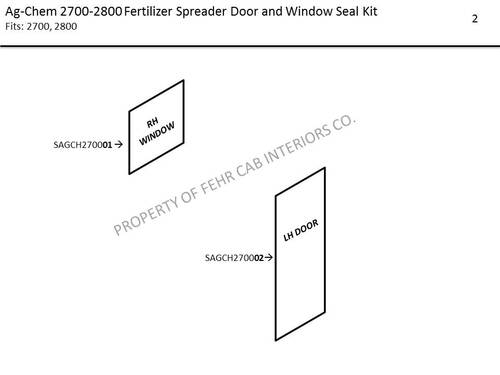 AG-CHEM 2700-2800 BIG A FERTILIZER SPREADER DOOR AND WINDOW SEAL KIT
