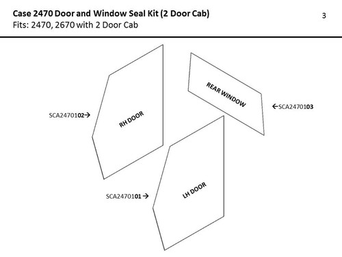 CASE 2470 DOOR & WINDOW SEAL KIT (2 DOOR CAB)