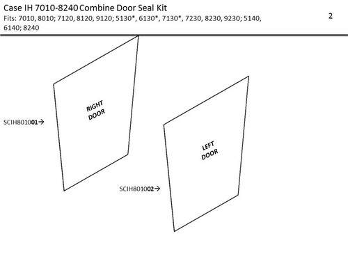 CASE IH 2588-8240 COMBINE DOOR SEAL KIT