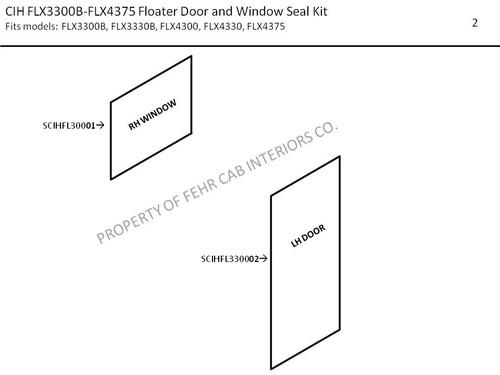 CIH FLX3300B-FLX4375 FLOATER DOOR AND WINDOW SEAL KIT