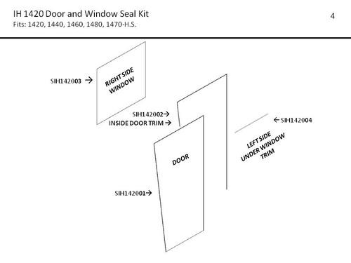 IH 1420 - 1480 COMBINE DOOR & WINDOW SEAL KIT