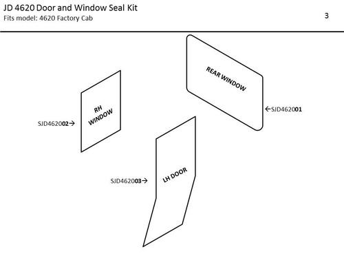 JOHN DEERE 4620 DOOR AND WINDOW SEAL KIT (FACTORY/HINSON CAB)