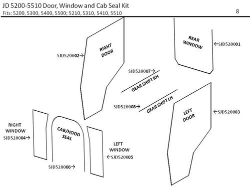 JD 5200-5510 DOOR, WINDOW  & CAB SEAL KIT