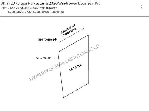 JD 5720 FORAGE HARVESTER & 2320 - 3830 WINDROWER DOOR SEAL KIT