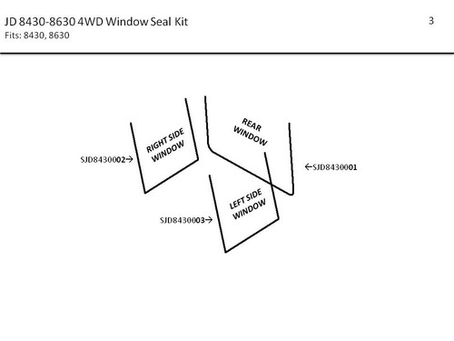 JD 8430-8850 4WD (1975-78) WINDOW SEAL KIT