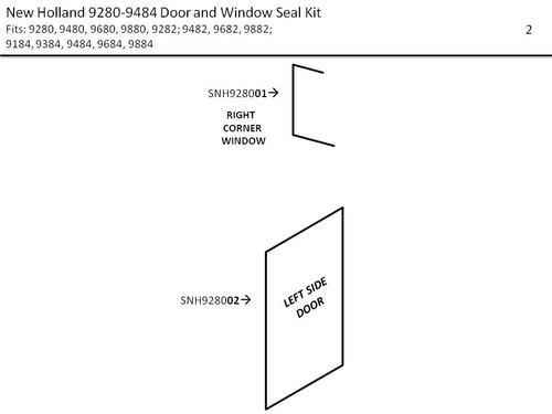 NEW HOLLAND (FORD) 9280-9484 DOOR & WINDOW SEAL KIT