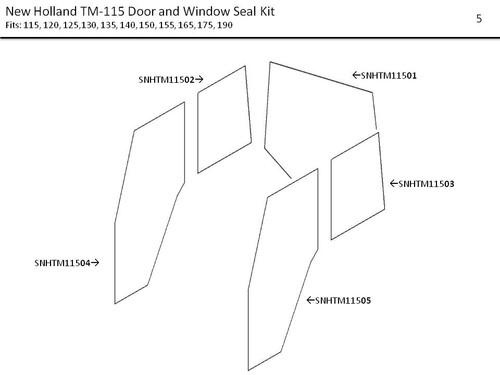 NEW HOLLAND TM115 DOOR AND WINDOW SEAL KIT