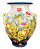 Jar with flowers and fruit black and antique white background