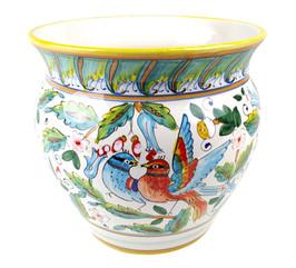 Ceramic cache pot love birds