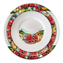 Italian ceramic tableware umbria decoration. Three plates: dinner, soup, salad