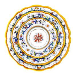 Italian ceramic Ricco Deruta sim edge table set