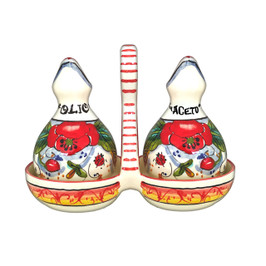 Oil and vinegar ceramic bottle with poppies decoration