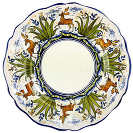 Italian ceramic dinner plate deer decoration