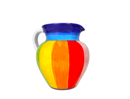 Pitcher in ceramic handmade by MOD-Deruta with Rainbow decoration.
