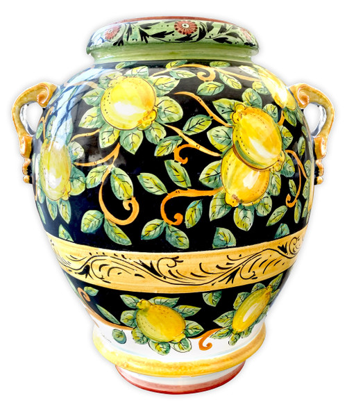 Big Vase With Lemons Black Background