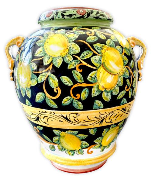 Big Vase With Lemons Black Background