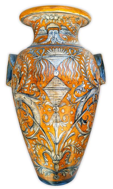 Large orange background Vase