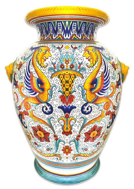 Large and precious Deruta vase raffaellesco decoration