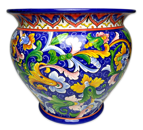 Cachepot with colored scrolls and blue background