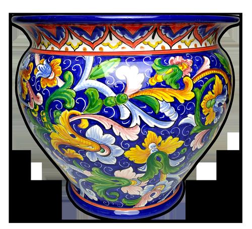 italian ceramic planter cachepot handpainted