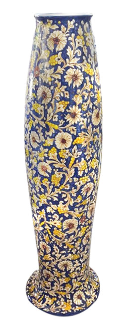 "Narrow Vase ""volute"" blue background"