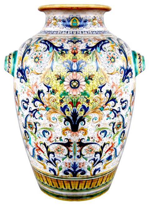 Big Vase Ricco Deruta and Volute handpainted by MOD CERAMICS