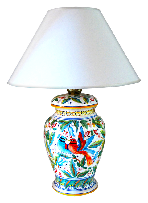 Ceramics birds lamp of deruta