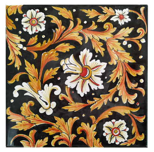 Tiles Flowers background black 7,8 x 7, 8 Inches