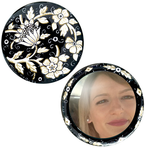 Italian ceramics Front and back side of handbag mirror black by mod ceramics hand painted
