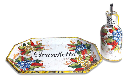 "Italian ceramics pottery Tray ""bruschetta"" with oil bottle hand painted in Deruta"