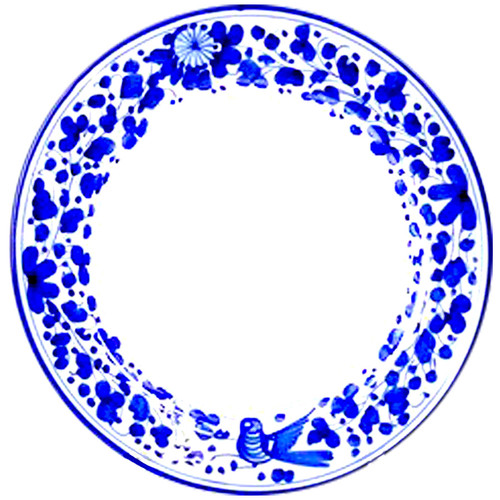 painted ceramic salad plates Arabesco blu