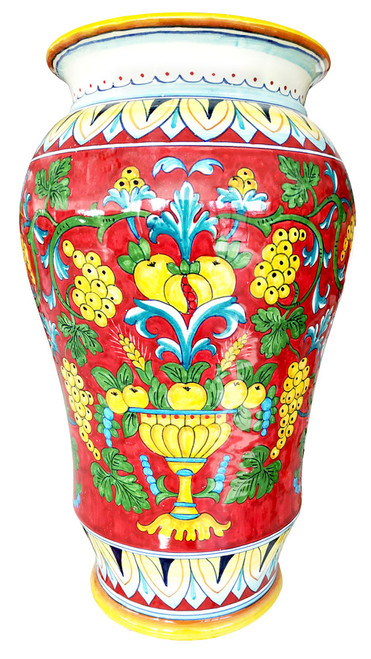 Painted ceramics umbrella stand with coral decoration