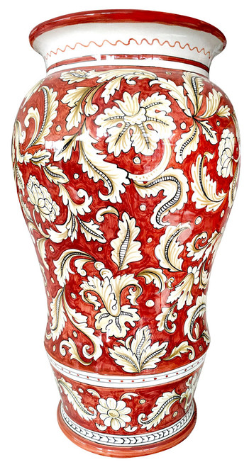 Painted ceramic umbrella stand with flower decoration and red background