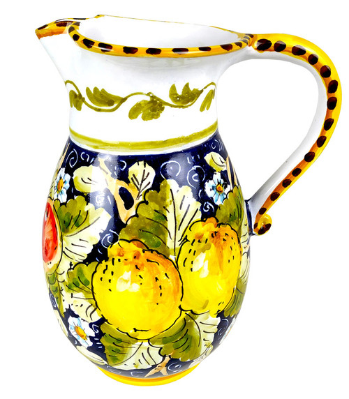 Italian pottery pitcher blue and fruits