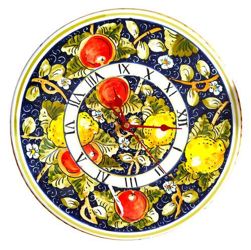 Ceramic clocks handmade blue and fruits