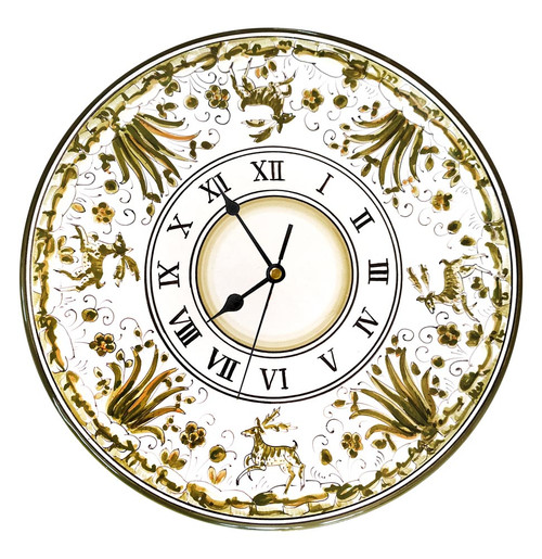 Clock of Majolica with deep decoration
