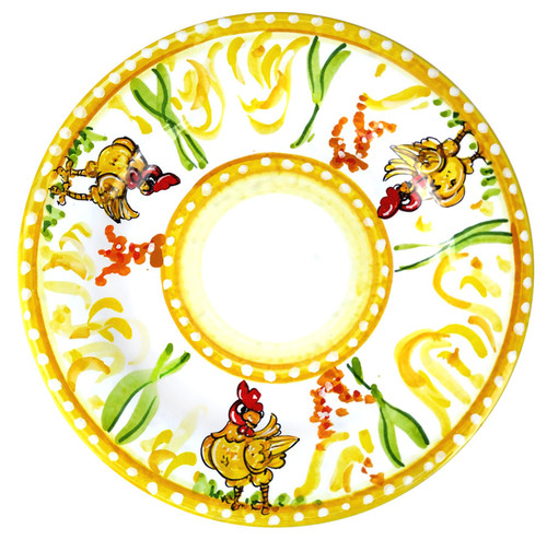 Hand-decorated table dish with chicken