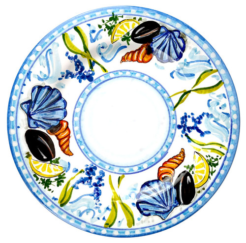 Pottery plate tableware with seafood
