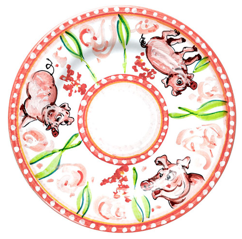 Pottery Itali dinner plate with pig Design