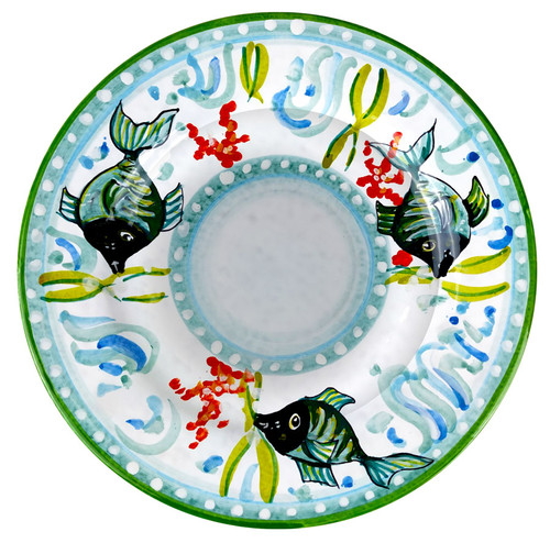 Pasta soup plate hand painted with fishes