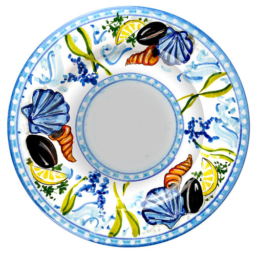 Italian pasta soup plate of majolica with seafood designed