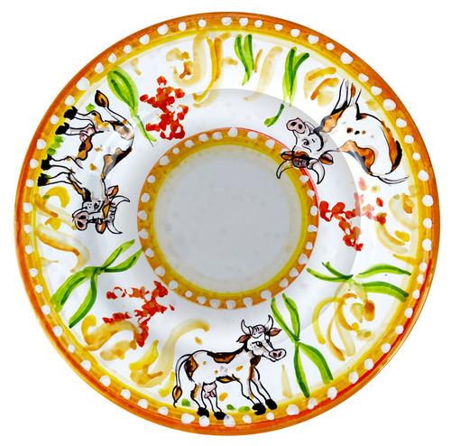 Deruta ceramics pasta soup plate with cow designed
