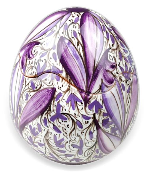 Italian ceramic box Egg purple