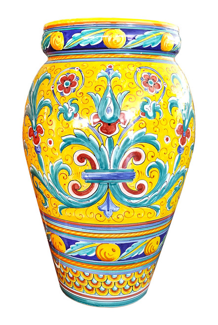 Pottery umbrella stand Ricco Deruta yellow background