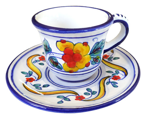 Pottery coffe cup Floreale. Hand painted to Deruta