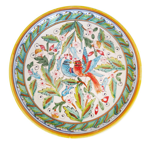 ceramic Deep round serving platea love birds 12 Inches