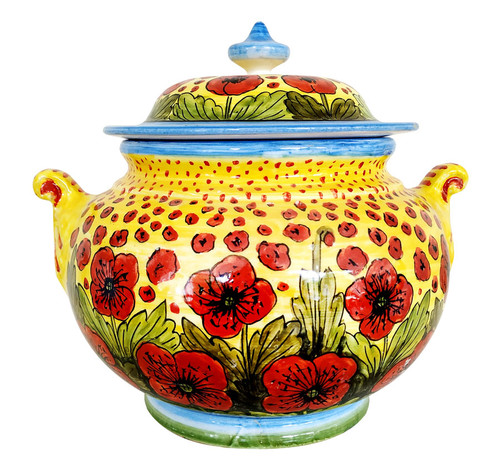 Pottery jar with poppies decoration