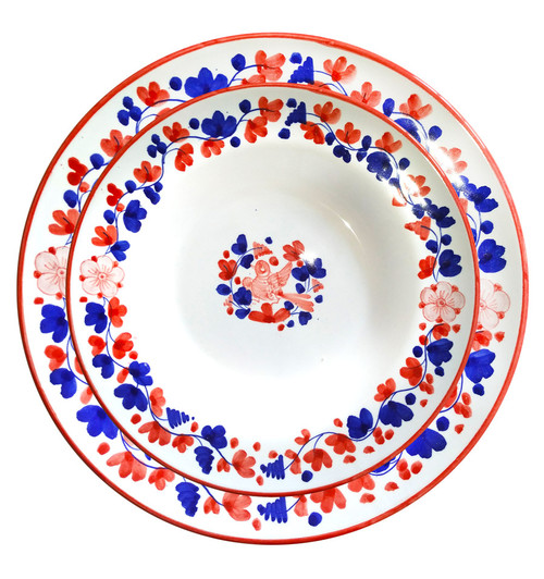 Italian ceramic restaurant red plates hand painted