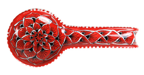 Deruta pottery  spoon rest with peacock feather decoration red