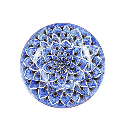 Deruta Ceramics Salad Plate peacock Blu Decoration